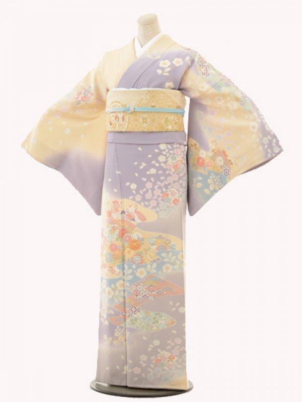 訪問着e107紫ボカシ菊梅流水桜