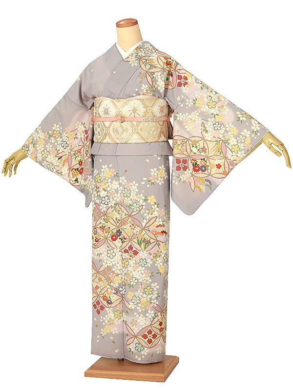 訪問着0019 薄紫 七宝に四季の花/桜