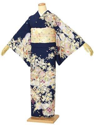 訪問着0025 紺 七宝に四季の花/桜