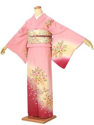 訪問着0030 ピンク 淡黄 四季の花