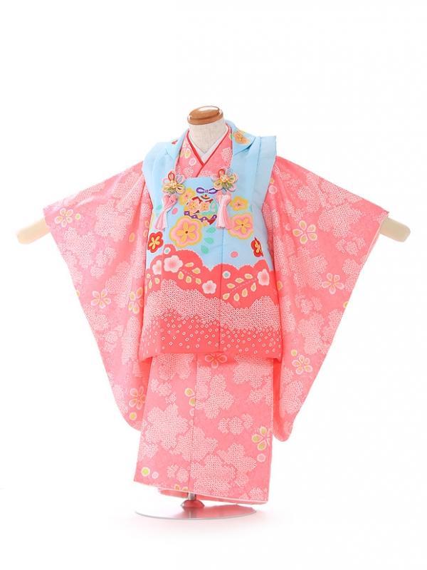 被布 ピンク×水色 桜 3210
