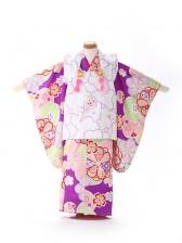 被布 女の子 紫×緑 POP 菊桜 3219
