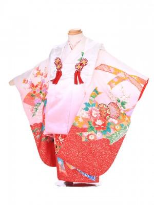 七五三レンタル(3歳女被布)G107 赤×白