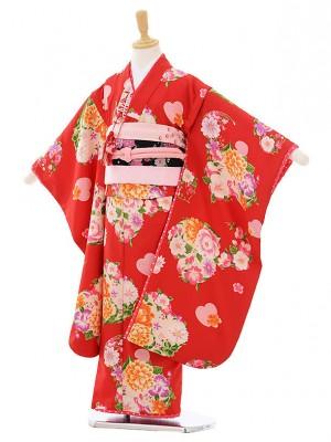 七五三レンタル(7歳女結び帯)G078 赤 花