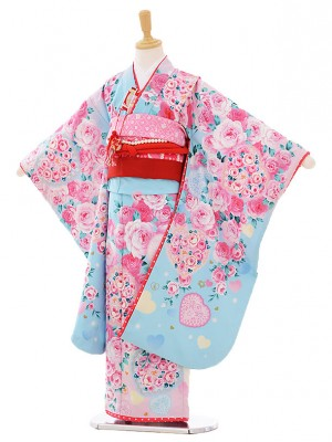 七五三レンタル(7歳女結び帯)G076 水色 バラ