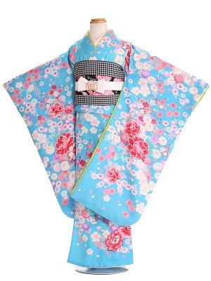 七五三(7歳女子結び帯) G240 青 牡丹