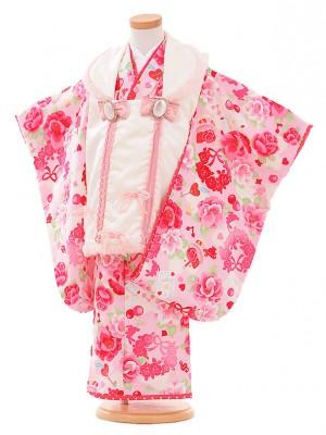 七五三レンタル(3歳女被布)G064 白×ピンク バラ
