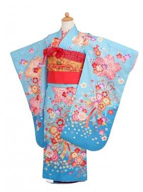 753レンタル(7歳女結び帯)0727ブルー花束