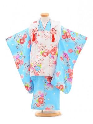 753レンタル(3歳女被布)0346ブルー×白花模様