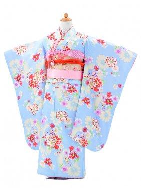753レンタル(7歳女結び帯)0763空色花と雪輪
