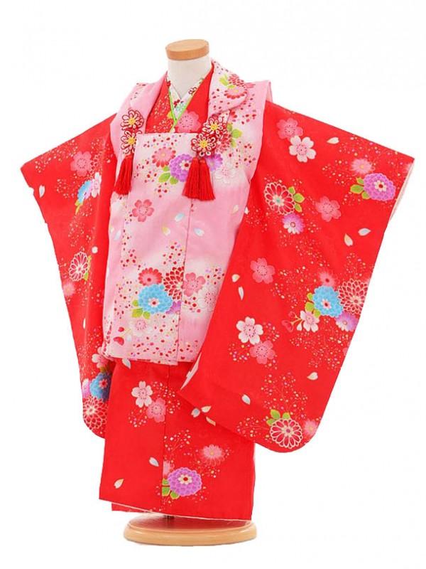 753レンタル(3歳女被布)0338赤×ピンク花模様
