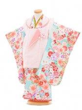 753レンタル(3歳女被布)0382桃×水色梅と桜
