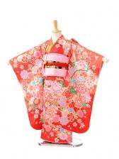 753レンタル(5歳女結び帯)0608赤地ピンク花ま