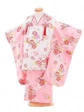 753レンタル(3歳女被布)0342ピンク×白花模様