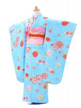 753レンタル(7歳女結び帯)0756水色桜と菊