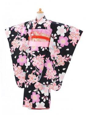 753レンタル(7歳女結び帯)0775黒桜