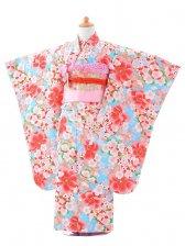 753レンタル(7歳女結び帯)0779水色×赤桜