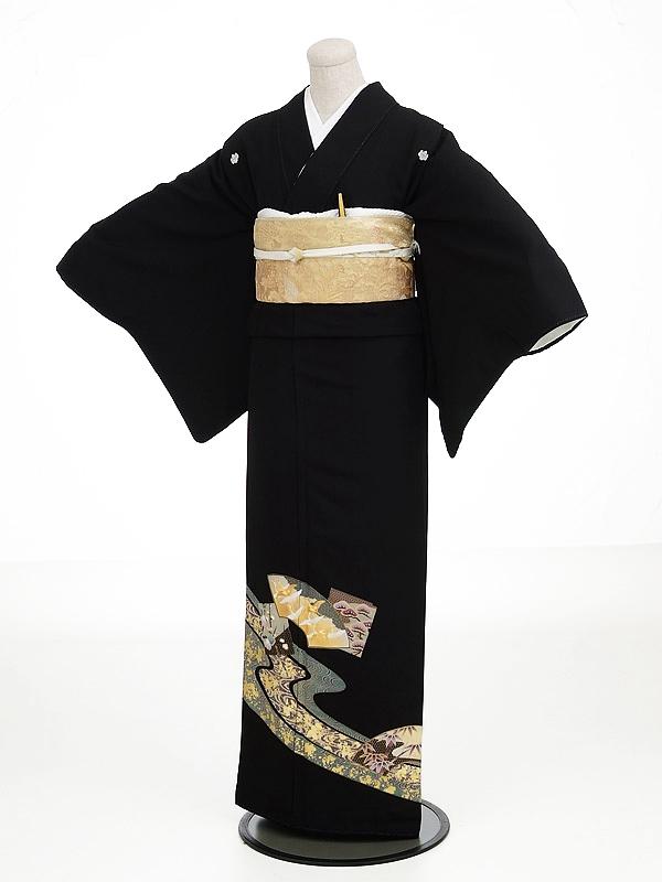 黒留袖レンタル7027流水鶴