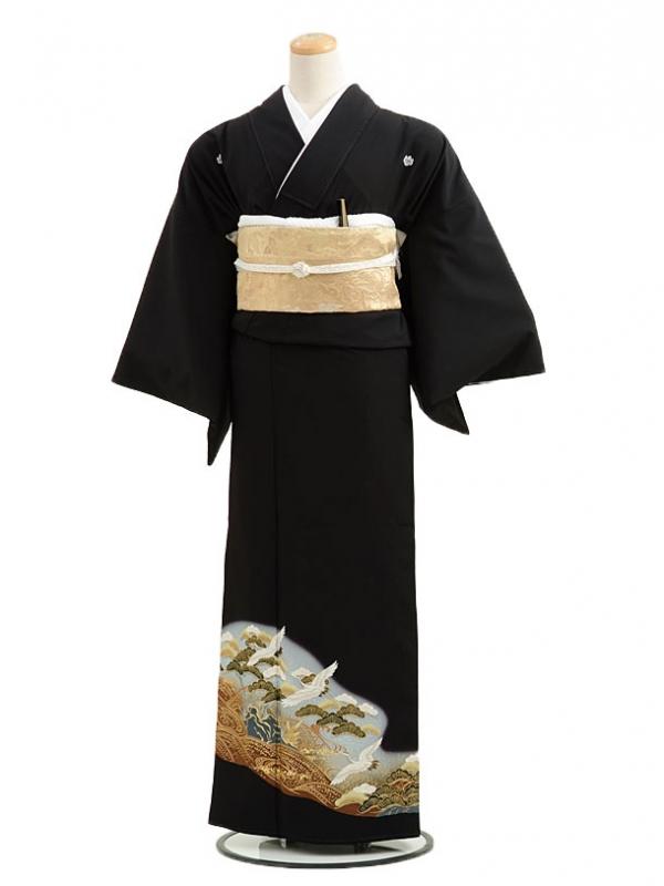 黒留袖レンタルCQ7-41グレーぼかし松鶴