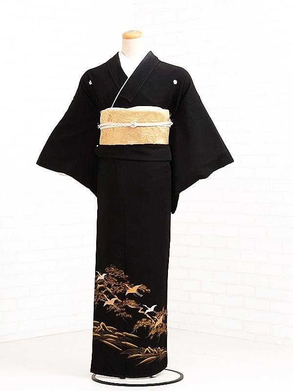 黒留袖レンタル7023金松に鶴