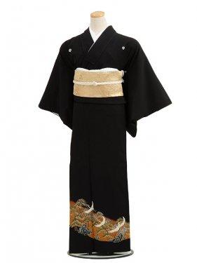 黒留袖レンタルC7005茶地松に鶴