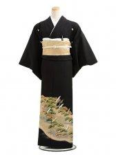 黒留袖レンタルC7006グリーン松小鶴