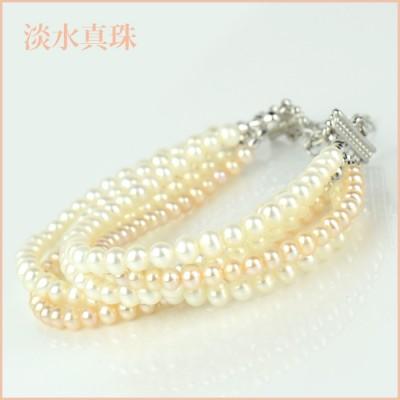 ブレスレット 淡水真珠(3.5-4mm 6連) 006