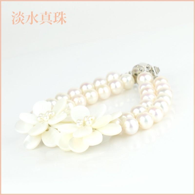 ブレスレット 淡水真珠(8-8.5mm 2連) 013