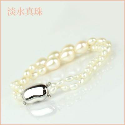 ブレスレット 淡水真珠(3-8.5mm 2連) 003