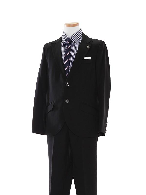 [男児スーツ]黒/ギンガムチェック柄B10