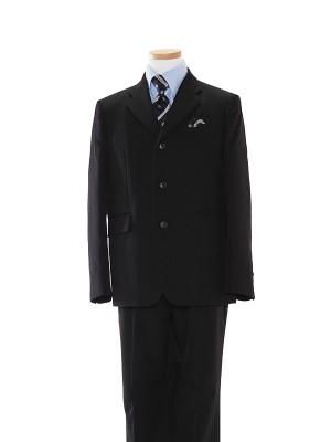 [男児スーツ]長ズボン/黒3つ釦/青ストライプシャツBS28