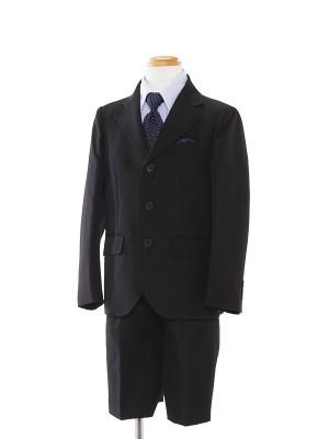 [男児スーツ]半ズボン/黒/青系シャツストライプ/BS7