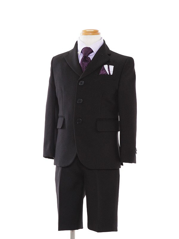 [男児スーツ]黒スーツ/紫Yシャツ(BS02)