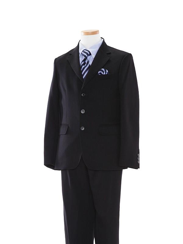[男児スーツ]黒ストライプ/青YシャツBS13