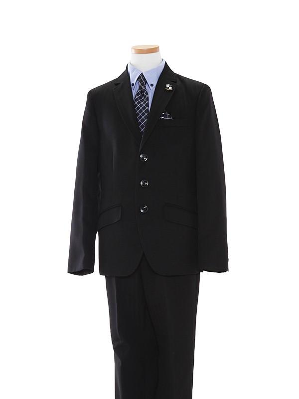 男児スーツ/160cm黒シャドーストライプBS35