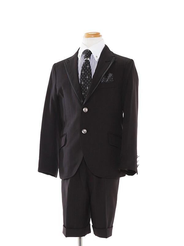 [男児スーツ]黒/白×黒ストライプシャツBS9