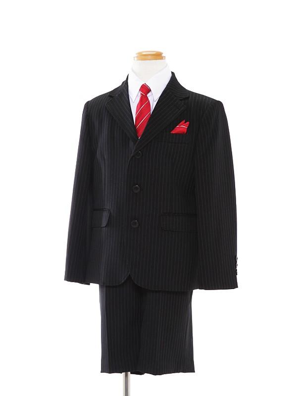[男児スーツ]120cm黒ストライプスーツBS31