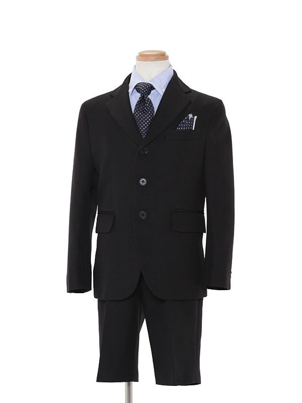 [男児スーツ]黒3つ釦/ブルーシャツBS22