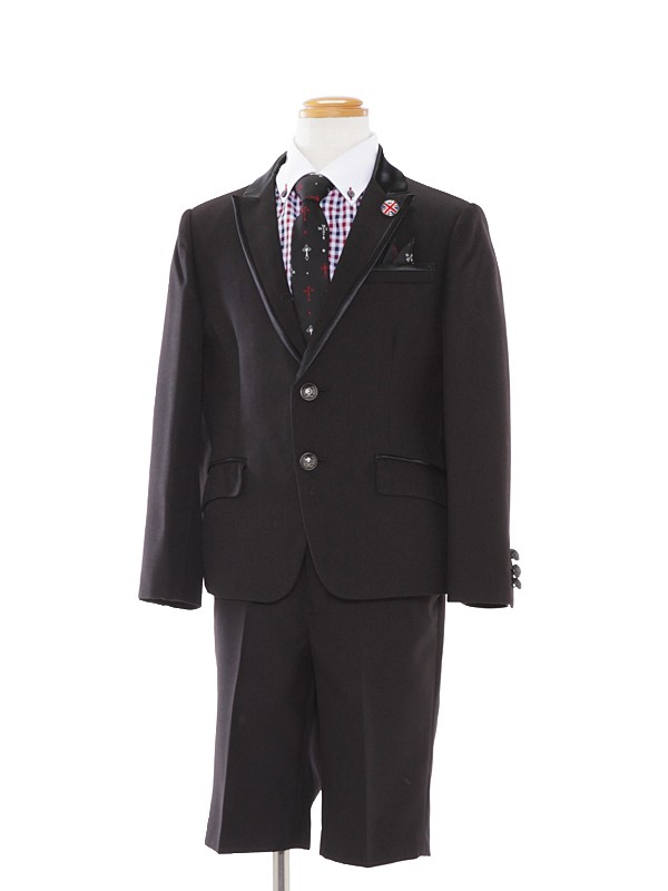 [男児スーツ]黒/ギンガムチェック柄BS03