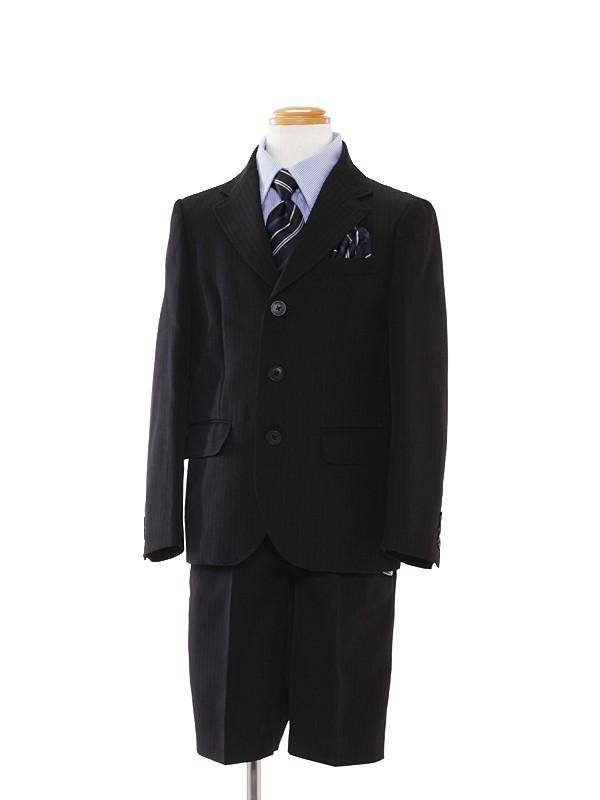 [男児]黒3つ釦/青ストライプシャツBS20