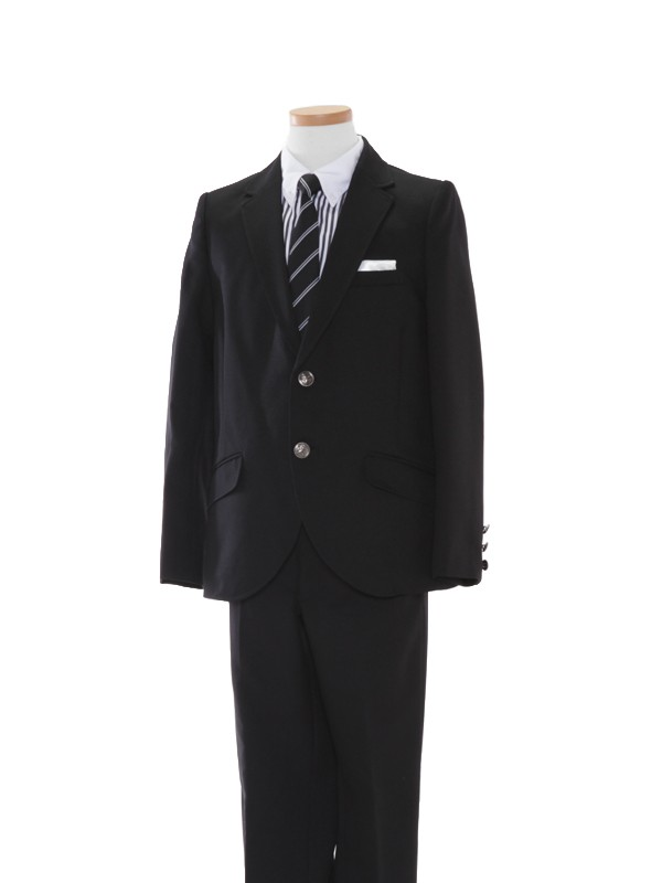 [男児スーツ]170cm黒/ストライプシャツBS34