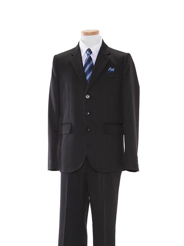 男児スーツ/150cm黒ダブルピンストライプ地BS38