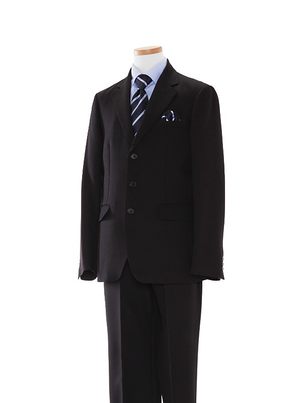[男の子スーツ]黒/ブルーシャツBE04