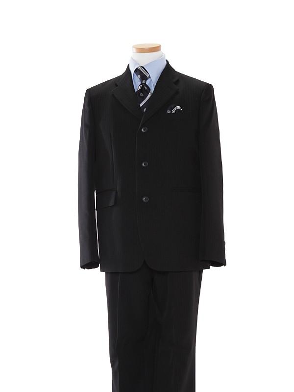 [男児]黒3つ釦/青ストライプシャツBS28