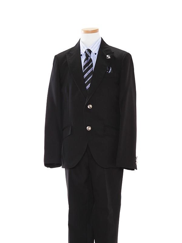 [男児]黒/水色×青ストライプシャツBS29