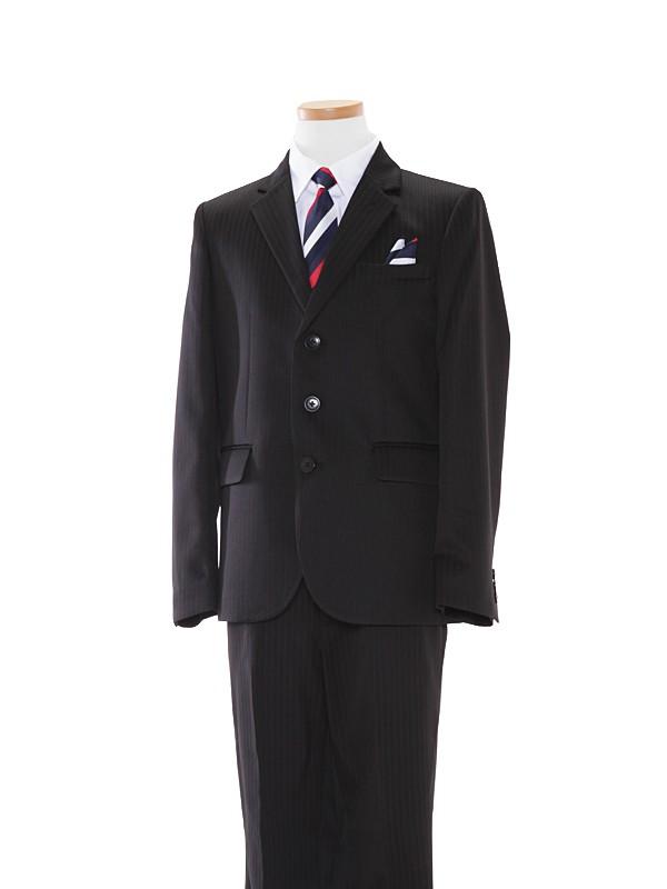 [男児スーツ]160cm黒ダブルストライプ地スーツBS37