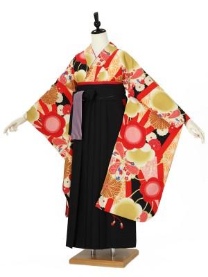 小学校卒業式ジュニア袴女0046 黒 九重 花/赤/黒袴