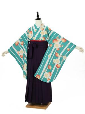 小学校卒業式ジュニア袴女0045 ブルー 縦縞梅 紫袴
