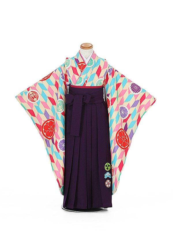 卒園式ジュニア袴女0021 パステル 矢絣/華文柄/紫袴