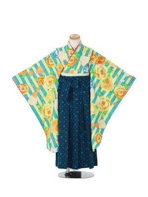 卒園式ジュニア袴女0015 青緑 バラ イチゴ さくらんぼ 紺袴